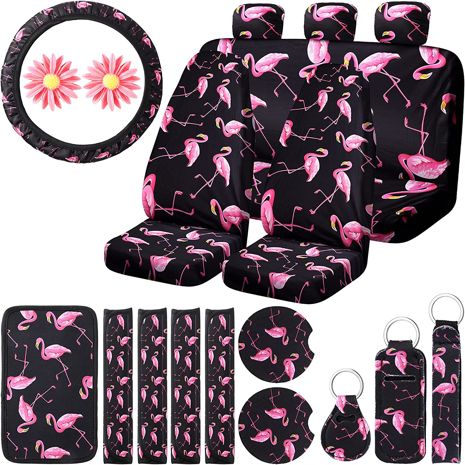 20 Pieces Selling Flamingo Car Accessories with Seat Luxury goods Set Co