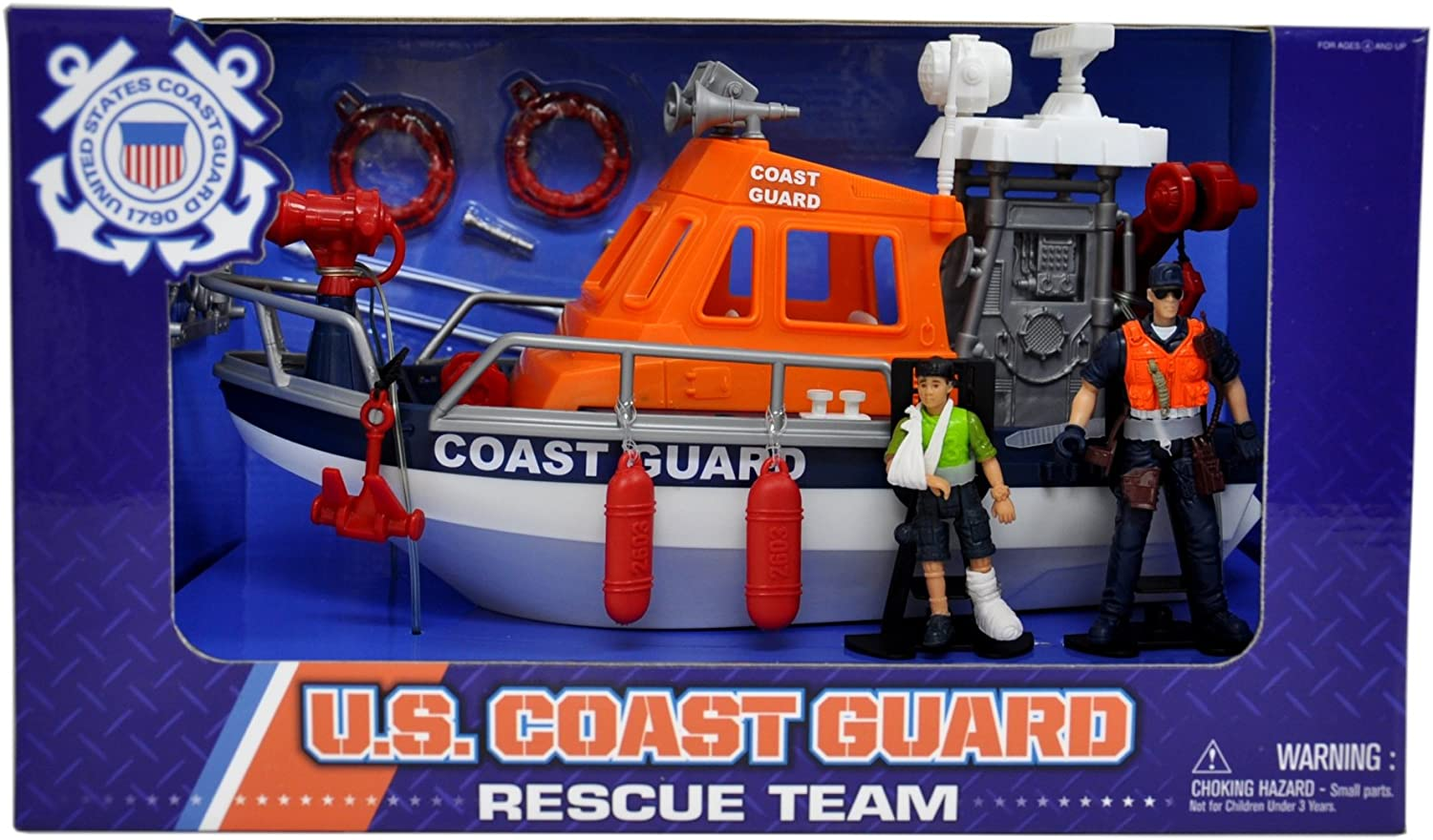 United States Coast Guard Rescue Boat Playset with 2 Action Figures