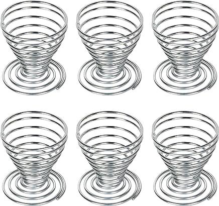 Preisvergleich für Leisial 6 Stück Eierbecher Metall Eierbecher Halter Spiralfeder Draht Tablett Eierbecher 5 * 5CM
