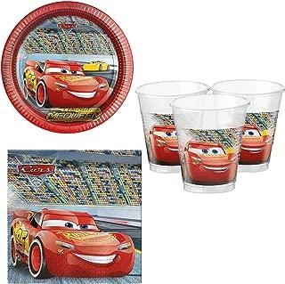 Boys Girls Disney Cars Racing Birthday 36pc Party Tableware Set Cups Plates Napkins Decorations Celebration Lightning McQueen (Tableware Set)