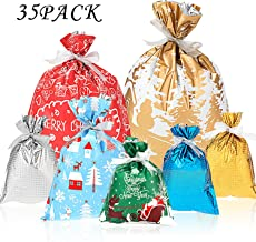 Whaline 35pcs Christmas Gift Wrapping Bags Holiday Treats Bags Pouch Goody Bags with 25 Yard Ribbon for Birthday and Christmas Party Favor