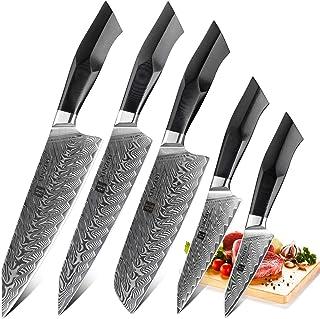 XINZUO Ensemble de Couteaux de Cuisine 5 Pièces en Acier Damas, Professionnel de Style Japonais Couteau,Forgé à la Main Co...