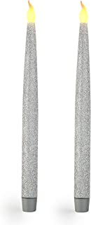 """Furora LIGHTING Silver LED Taper Candles, Window Candles, Candle Lights, Long Candles, Battery Powered Candles, Electric Candles Window Lights with 6 Hour Timer Function - Silver 11.5"""", Pack of 2"""