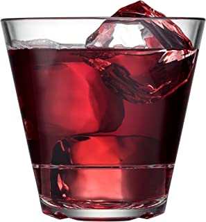 Drinique CAL-DR-CLR-4 Caliber Double Rocks Unbreakable Tritan Whiskey Glasses, 12 oz (Set of 4), Clear