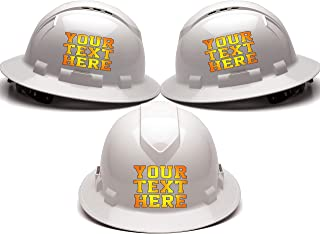 Custom Hard Hats - Personalized Text - Pyramex Ridgeline Full Brim Vented 4 Point Ratchet Suspension