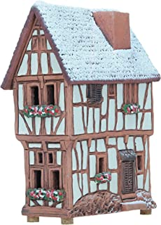 Ceramic Cone Incense Burner and Incense Cone Holder | Miniature Replica of The Original Historic House in Bernkastel-Kues | Snow Covered | R255