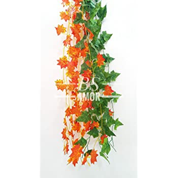 BS AMOR Artificial Creeper 6(3Green + 3 Orange) | Wall Hanging | Speacial Ocassion Decoration | Home Decor Party | Office | Festival Decorative | Length 6 Feet (6 Strings)