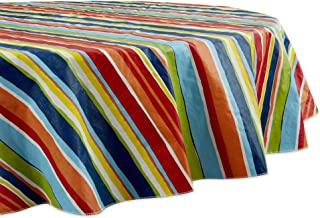 "DII Geometric Outdoor Vinyl Table Top, 70"" Round, Summer Stripe"