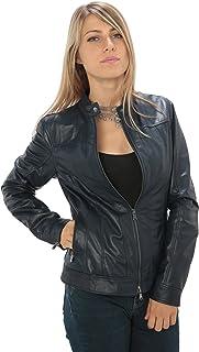 """3f32b3d6fa1280 Giacca in Vera Pelle da Donna con Colletto """"Motociclista"""" vestibilità  Slim-Fit Made"""