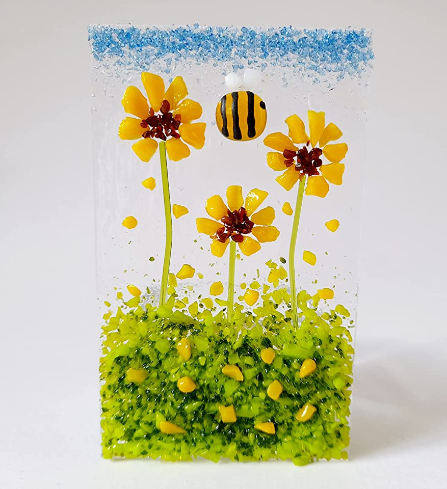 Fused Glass Tea Light Holder With Sunflowers And Bee Candle Holder