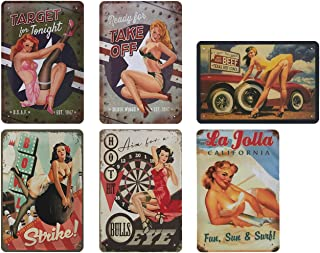 Juvale 6-Piece Tin Signs - Vintage Style Metal Signs As Wall Decor, Decorative Coffee Bar Sign, Pin-up Girls, Sexy Ladies, 11.8 x 8 inches