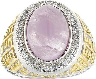 Aurora Men's Silver Aqeeq Violet Ring