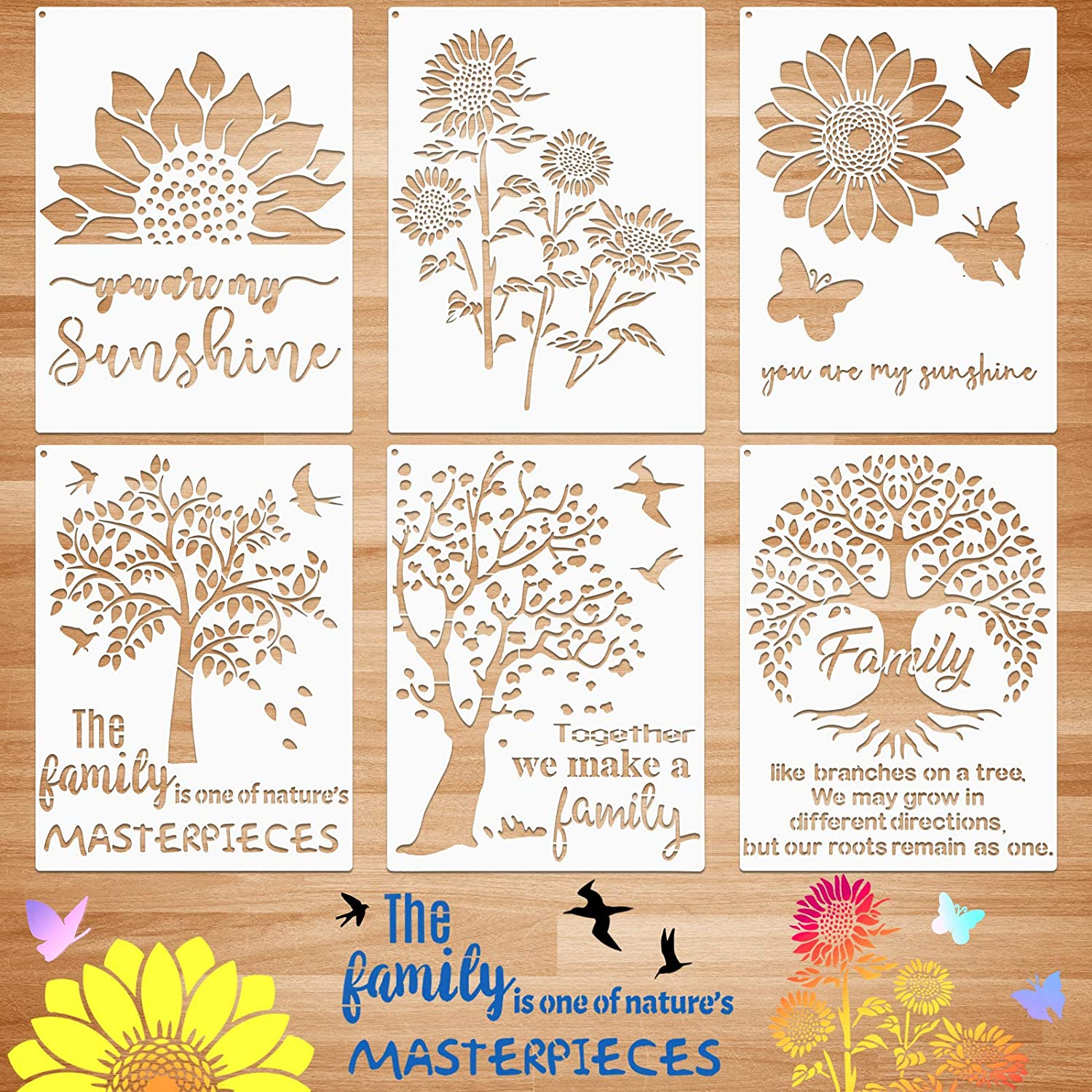 6 Pieces Sunflower Stencil Kit You are My Sunshine Stencil Family Tree Butterfly Stencil Reusable Mylar Template Stencils with Metal Open Ring for Painting on Wood Wall Home Decor