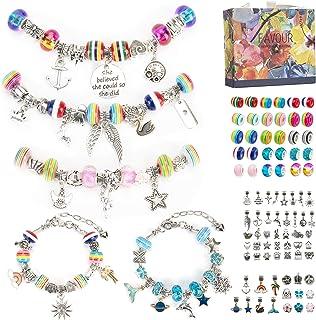 Aojun 89 Pcs Charm Bracelet Making Kit, DIY Charm Bracelets Snake Chain Beads for Children-Ages 6~13, Jewelry Charms, Brac...