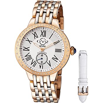 GV2 by Gevril Astor Womens Diamond Swiss Quartz Two Tone Rose Gold and Stainless Steel Bracelet Watch, (Model: 9106)