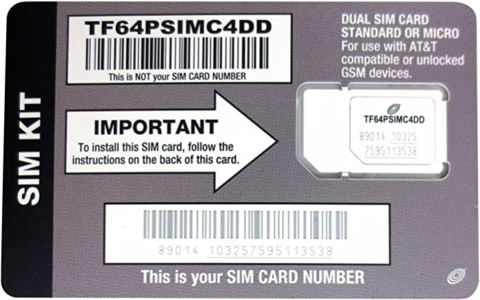 Straight Talk AT&T Compatible SIM card for AT&T phone or Unlocked GSM Phone including iPhone 3 & 4 Samsung Galaxy S3, S4, S5 Galaxy Note 2 3 & 4 and other GSM phones