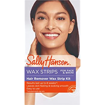 Sally Hansen Hair Remover Wax Kit for Face, Brows, and Bikini, 34 Count (17 Double Sided Strips), Pack Of 1