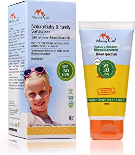 30 SPF Mineral Baby Sunscreen [Mommy Care] Safe for Babies, Toddlers and The Whole Family. UVA/UVB Protection Broad Spectrum – Paraben Free – Organic Vegan Sun Protection 2.7 fl.oz