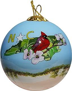 Art Studio Company Hand Painted Glass Christmas Ornament - North Carolina State Images