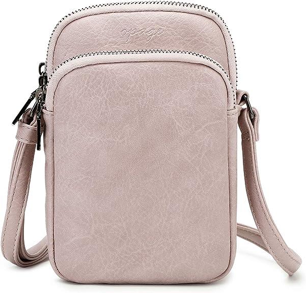 Lightweight Crossbody Phone Purse for Women Small Leather Cellphone Purse Triple Zip Mini Shoulder Bag