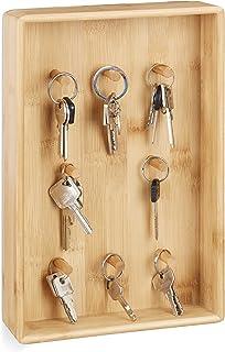 Relaxdays Armoire boîte range-clés 8 crochets planche bambou porte clefs HxlxP: 30 x 20 x 5,5 cm, nature, 1 élément