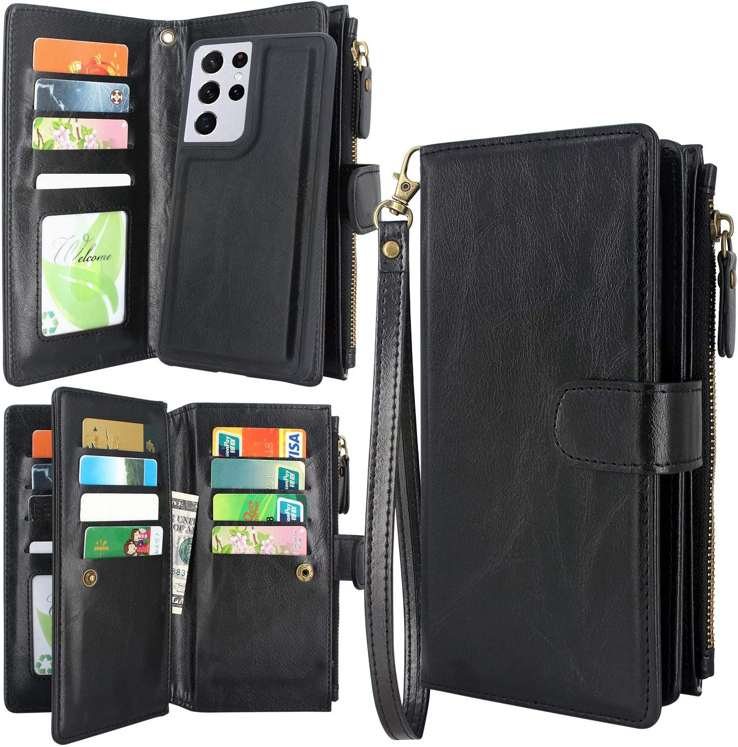 Harryshell Detachable Magnetic Zipper Wallet Leather Case Cash Pocket with 12 Card Slots Holder Wrist Strap for Samsung Galaxy S21 Ultra 5G (6.8-Inch) (2021) (Black)