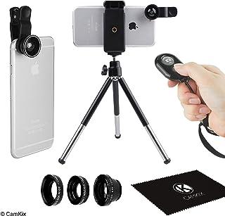 Lente de camara Universal 3en1 disparador remoto y trípode para teléfonos inteligentes incluyendo el control remoto de la camara ojo de pez 2en1 Macro y gran angular pinza de lente trípode