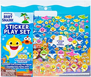 Baby Shark Sticker Play Set by Horizon Group USA Includes Over 100 Reusable Puffy Stickers & 1 Fold & Play Baby Shark Scen...
