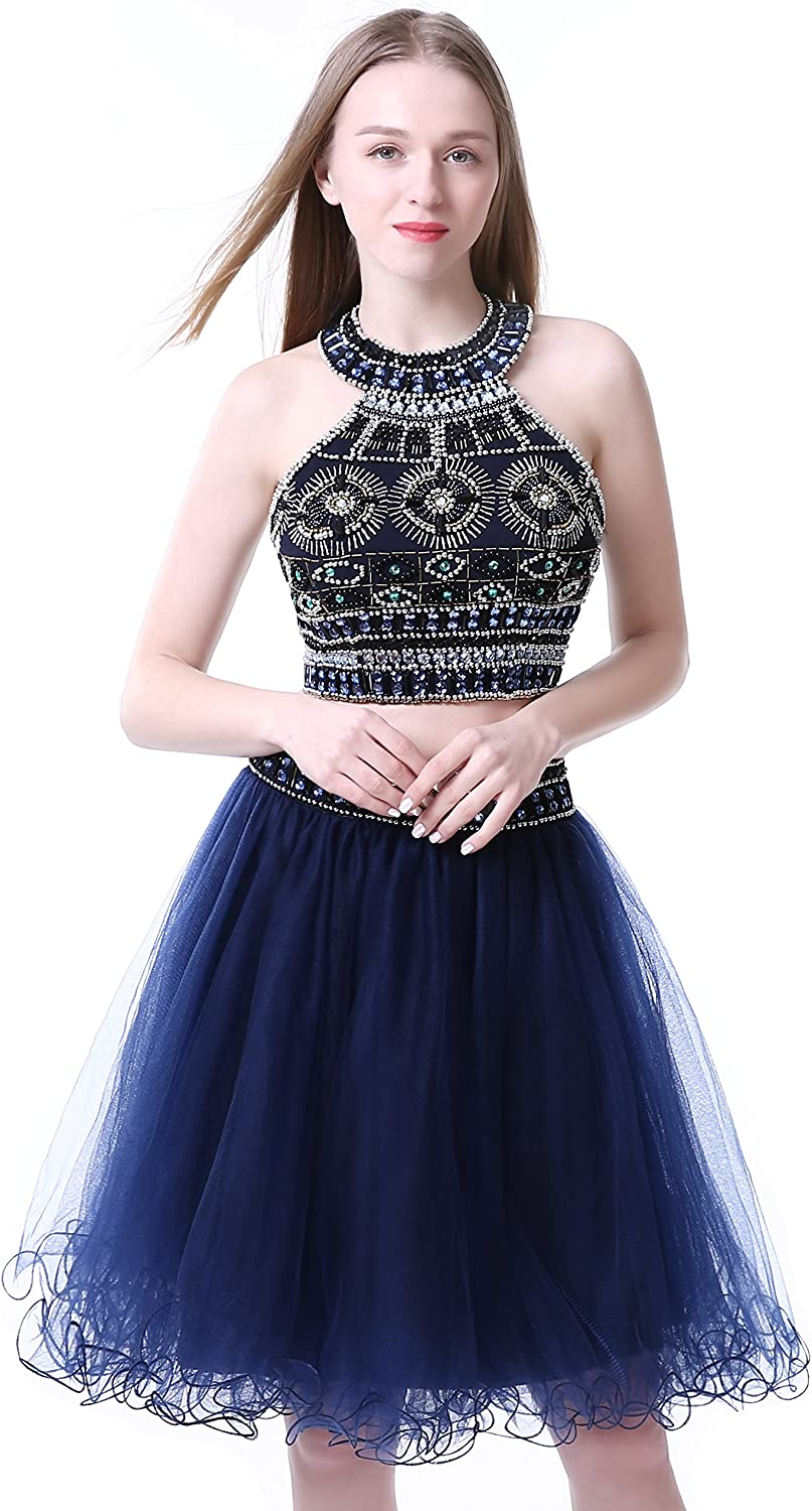 Sweetdresses Rhinestones Two Pieces Homecoming dress , Jewel Short Prom Gown