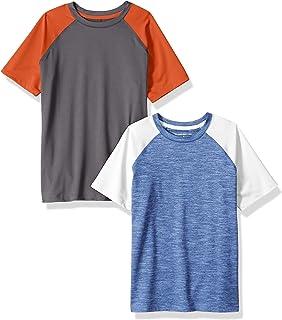 Amazon Essentials Boys' 2-Pack Short-Sleeve Raglan Active Tee
