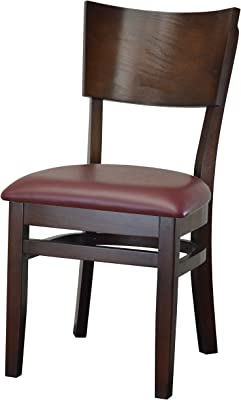 Curved Back Solid Beech Wood Chair Upholstered Cushion Fully Assembled Frame for Restaurants & Homes (Burgundy) (Black)