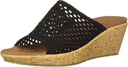 Skechers Women's Beverlee-Golden Sky-Woven Single Band Slide Wedge Sandal