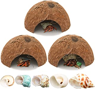 3 Pack Natural Coconut Reptile Hideouts, Lizard, Spider and Aquarium Fish Hide Cave, Come with Seashell Opening Size of 0....