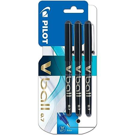 Pilot VBall 7 Rollerball Pen-Black (Pack of 3)