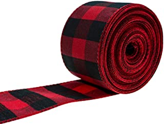 ATRBB Red and Black Buffalo Plaid Ribbon Wired Edge Gingham Ribbon for Christmas Decoration and Bows Craft,10 Yards by 2.4...