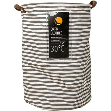 Deke Home - Cesta plegable para ropa sucia. Cestas grandes de almacenamiento de lona de rayas redondas impermeables a prueba de agua. Almacenamiento de ropa y juguetes de lavado con asas y cuerda de arrastrar 13,3 x 47 cm.