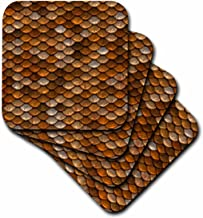 3dRose Print of Copper and Brass Scales Soft Coasters (Set of 8)