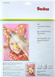 Geha 86093380 Hojas de plastificación - Láminas para plastificadora, 25 bolsas tamaño A4 (217 x 303 mm), 80 micras, 25 pel...