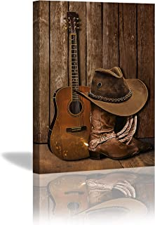 KING DARE American West Cowboy Boots Hat and Guitar Artwork Canvas Prints Framed Picture for Living Room Bathroom Poster P...