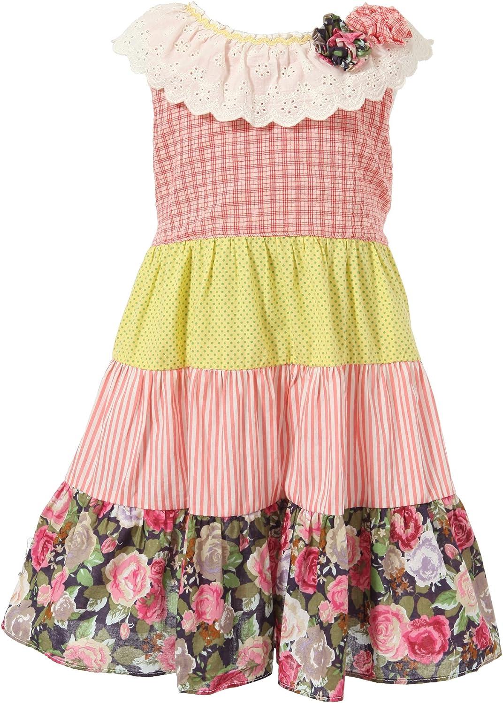 Richie House Girls' Sweet Medium Dress in Colored Several Fabrics Size 2-8 RH1785