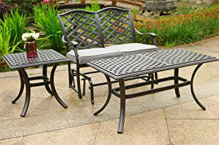 Aurora 3 Piece Outdoor Seating Set (Cast Slate Sunbrella Cushions) …