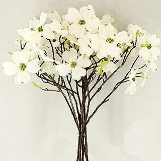 Unique Forest Arts Artificial Dogwood Blossom Silk Flowers Bridal Flowers Bouquets Fake Cornus Bush for Wedding Home Office Decoration(Set of 5 pcs) (White)