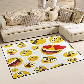 WOZO Red Heart Emoji Emotion Face Area Rug Rugs Non-Slip Floor Mat Doormats Living Room Bedroom 31 x 20 inches