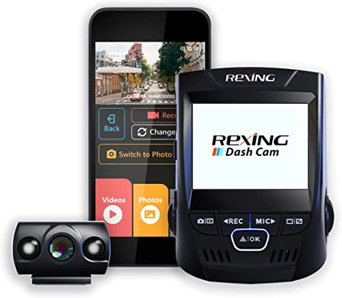 "Rexing V1P 2.4"" LCD FHD 1080p 170 Degree Wide Angle Dual Channel Wi-Fi Dashboard Camera Recorder Car Dash Cam with Re..."