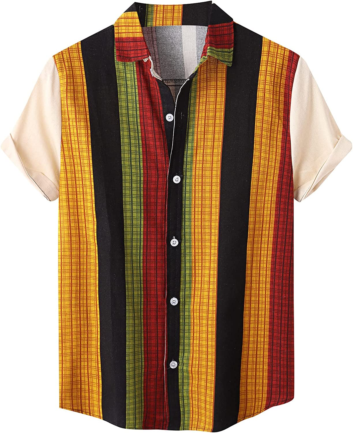 Mens Button Up Shirts Linen Tops Breathable Colorful Striped Print Shirt Loose Casual Short Sleeve Tee Shirt