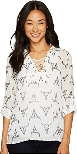 Cruel - Long Sleeve Tie Fit Printed Chiffon Blouse