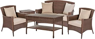 W Unlimited Galleon Collection Outdoor Furniture 5PC Set Patio Furniture Coffee Table Conversation Set Dark Brown Rattan Wicker Lounger Deep Seating