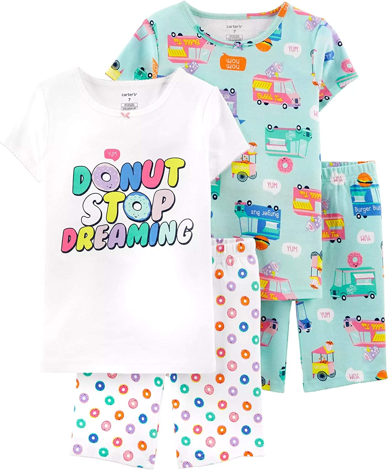 Carter's Girls' 4-Piece Snug Fit Cotton PJS (6, Turquoise/White/Donuts)