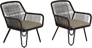 Novogratz 88122CWGE Poolside Marli Lounge Chairs, 2 Pack, Charcoal