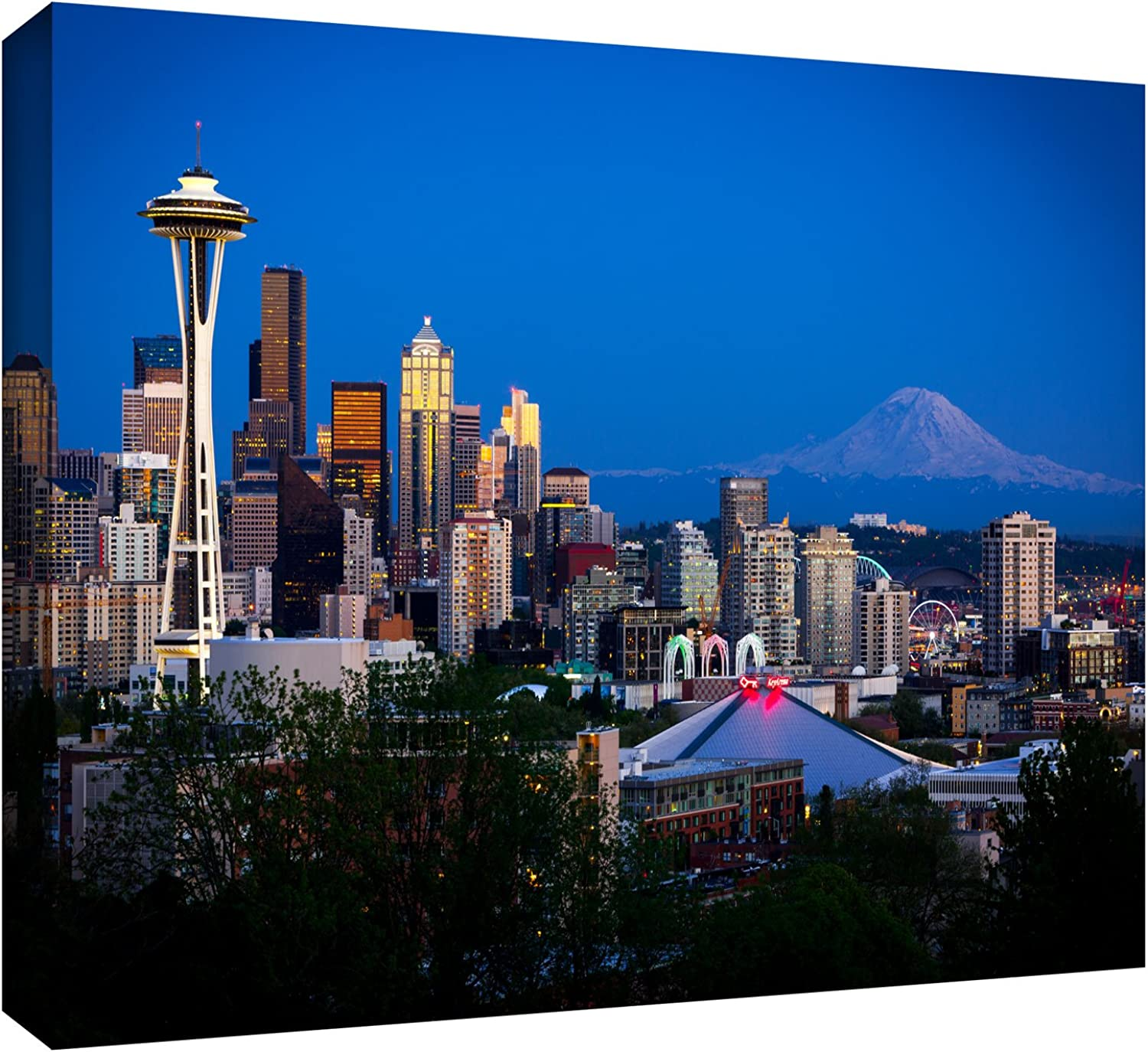 ArtWall Cody York 'Seattle and Mt. Rainier' Gallery-Wrapped Canvas Artwork, 24 by 36-Inch
